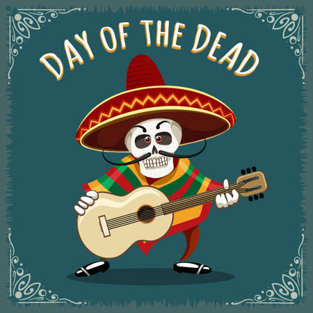 Day of the Dead illustration. Skull Mariachi guitar player drawn in cartoon style. Illustration