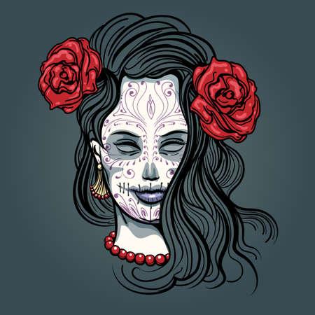 Día de los Muertos ilustración. Cara de la chica con el maquillaje del cráneo del azúcar dibujado en el estilo del tatuaje.