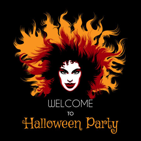 long haired: Welcome to Halloween Party Poster. Long haired Woman with fiery witch makeup.