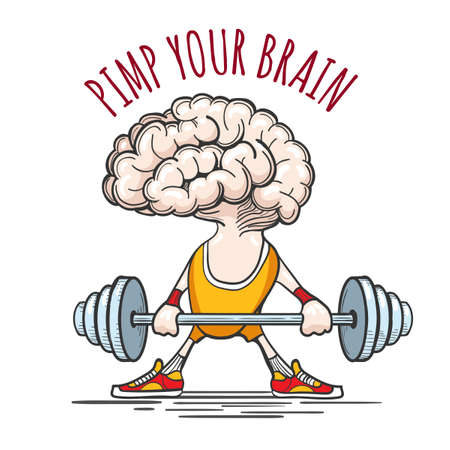 hardy: Human brain in sport uniform with barbell and wording Pimp your Brain. Exercising for brain concept. Vector illustration Illustration