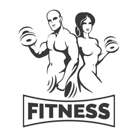 Bodybuilder Clenter or Fitness Template. Athletic Man and Woman Holding Weight Silhouettes.  Vector illustration