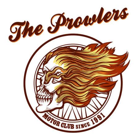 flames vector: Vintage Biker Club Badge or Emblem with Skull in Flames. Vector illustration. Illustration