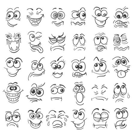 Cartoon face Emotion set. Various facial expressions in doodle style isolated on white. Vector illustration.