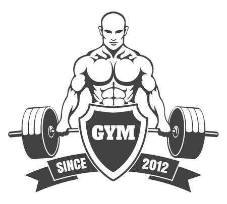 Fitness or Gym emblem. Athletic man with a barbell, shield and ribbon. Gym, bodybuilding, weightlifting, sports, training monochrome emblem, label, badge, sign, symbol. Vector illustration