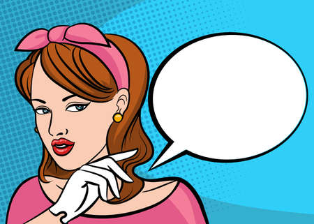 Pop art beauty woman thinking and pointing finger on speech bubble. Retro vector illustration in comic style.