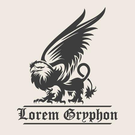 winged lion: Dibujado a mano vendimia Griffin, bestia mitológica con alas magia. Diseño Heráldica o el arte conceptual. ilustración Vectores