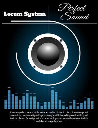 Music Loudspeaker and equalizer against black background. Sound system poster vector template.