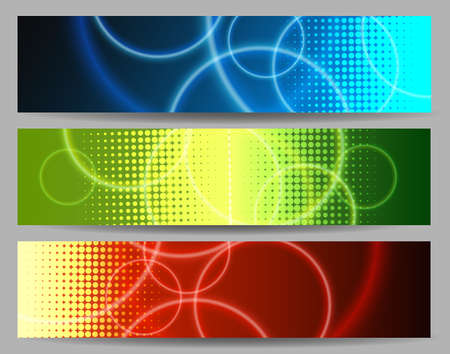 Set of abstract colorful banners with circles and half tone pattern. Vector illustration.