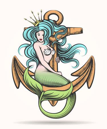 Belleza de pelo azul Sirena Sirena con la corona de oro que se sienta en el ancla oxidada. Ilustración del vector colorido en estilo del tatuaje.
