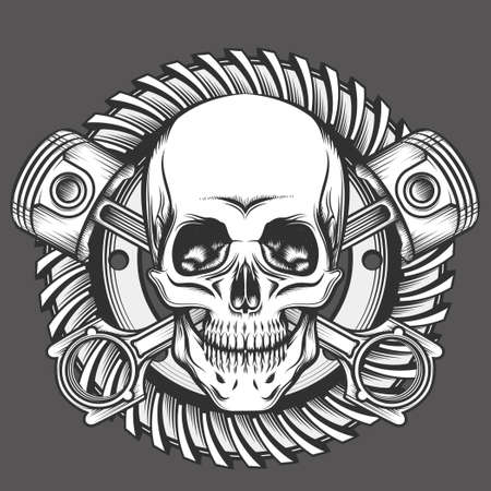Vintage Skull With Crossed Piston and Motorcycle Gear Emblem. Biker Club or Motorcycles workshop design element. Vector illustration in engraving style.