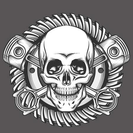skull and crossed bones: Vintage Skull With Crossed Piston and Motorcycle Gear Emblem. Biker Club or Motorcycles workshop design element. Vector illustration in engraving style.