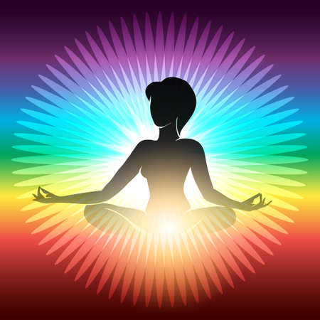 yoga meditation: Woman sitting in half lotus pose for meditation against rainbow background. Vector Yoga meditation illustration.