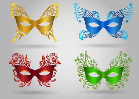 Conjunto de máscara colorida de carnaval. Ilustração em vetor acessórios de festa de máscaras Ilustración de vector