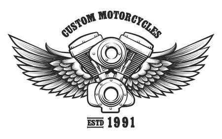 오토바이 엔진 및 문신 맞춤형 오토바이 워크숍 문신 스타일의 날개. 엠 블 럼, 기호, 워크숍 디자인 요소입니다. 벡터 일러스트 레이 션.