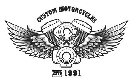 chopper: Motorcycle engine and wings in tattoo style with wording Custom Motorcycle workshop. Emblem, symbol, workshop design element. Vector illustration.