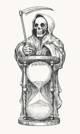 Dood in de kap met een scythe en zandloper. Vector illustratie in gravure stijl.