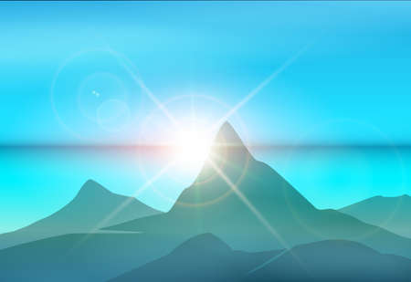 Mountains and sea at sunrise. Island morning landscape. Vector illustration.