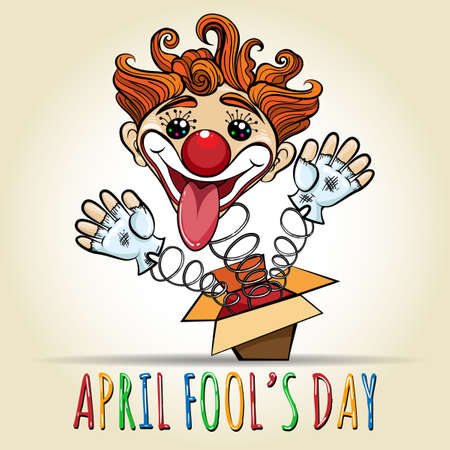 Happy April Fools Day Illustration. Toy Clown springing out of a box. Vector illustration in cartoon style.