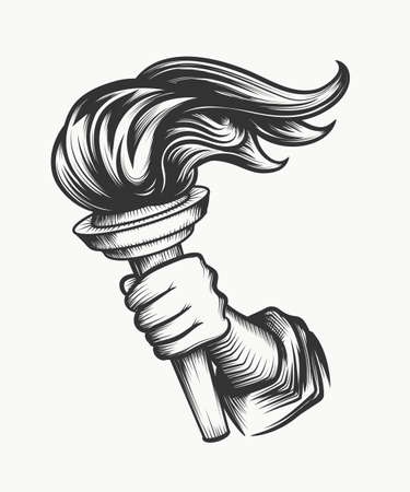 人間の手は、トーチを持っています。タトゥーやエンブレムのデザインの良いスタイルを彫刻の自由のシンボルです。白で隔離。