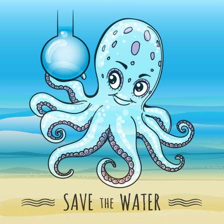 Ahorre el cartel del agua en estilo de la historieta. Frasco divertido del asimiento del pulpo de agua dulce. Ilustración vectorial.