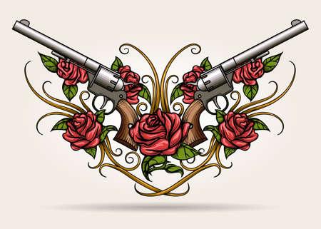 Paar gekruiste geweren en rozenbloemen getekend in tatoeage stijl. Vector illustratie.