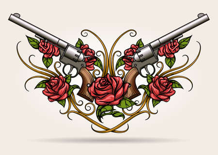 Paire de fusils croisés et de fleurs de rose dessinées dans le style du tatouage. Illustration vectorielle. Banque d'images - 74450486