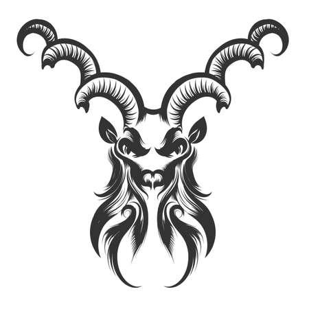 capricornio: Grabado ilustración de la cabeza de Capricornio. Símbolo del zodiaco aislado en blanco. Vectores