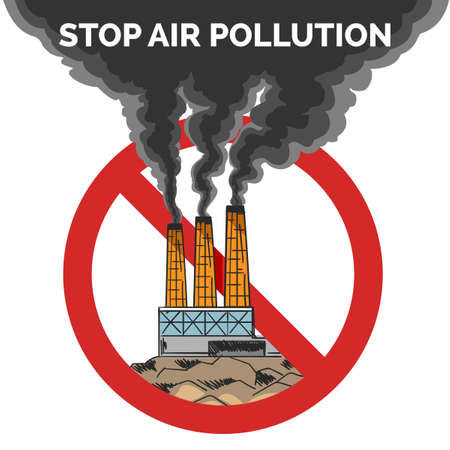 Stop air pollution Emblem. Black Smoke from a factory pipes against stop sign. Toxic waste or Environmental protection design concept.