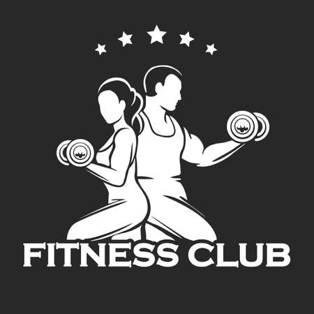 Man and woman with dumbbells. Athletic or fitness club design template. Vector illustration