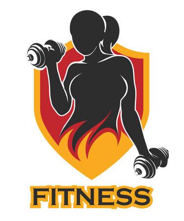 Emblema con atlético Mujer sosteniendo el peso Silueta en el escudo. Elemento para la etiqueta del deporte, insignia del gimnasio, diseño del logotipo de la aptitud Logos