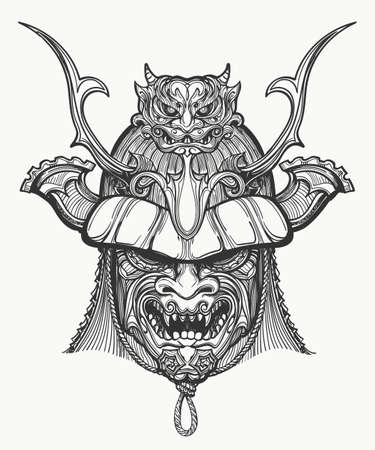 Samurai mask hand drawn vector illustration. Japanese traditional martial mask. Black and white isolated on white. Vettoriali