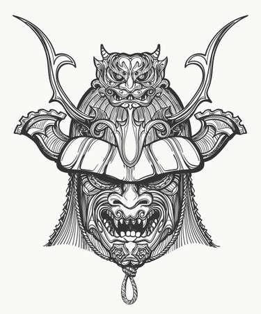 Masque de samouraï à la main dessinée illustration vectorielle. Masque martial traditionnel japonais. Noir et blanc isolé sur blanc.