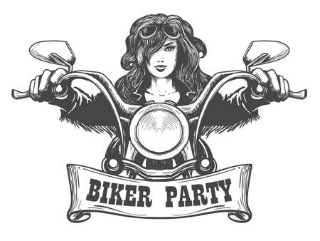 Sexy girl ride a motorbike. Biker party poster design. Vector illustration
