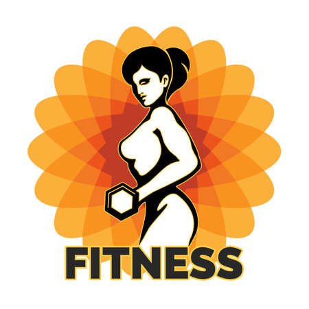 signo pesos: Woman Holding Weight Silhouette. Element for Sport Label, Gym Badge, Fitness Club design. Sport Symbol. Vector illustration.