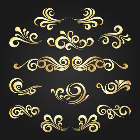 Set of Golden decorative curly shapes. Vintage elements drawn in victorian style for your design. Vector illustration.