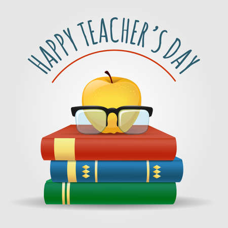 Illustration with books. apple and glasses. Happy Teachers Day Poster. Vector illustration
