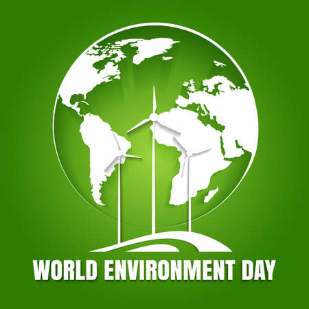 World Environment Day Poster. Earth globe and environmentally friendly power making turbines. Ecological concept. Vector illustration. Illustration