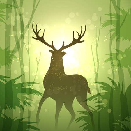 Deer in morning green Forest. Vector illustration. Ilustrace
