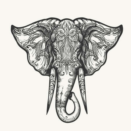 Elephant Head in Henna style. Hand drawn black and white zentangle vector illustration.