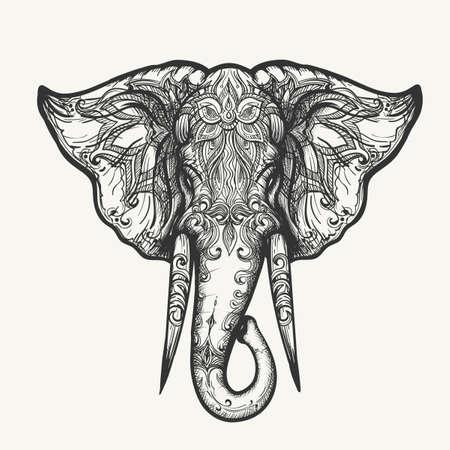 Słonia głowy w stylu Henna. Wyciągnąć rękę czarno-biały zentangle ilustracji wektorowych.