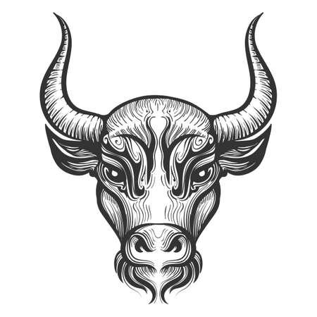 Cabeza de toro grabado ilustración. Signos del zodíaco. Signo astrológico de Tauro. Ilustración de vector aislado en un fondo blanco.