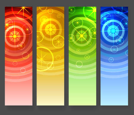 Abstract vertical banners set. Star shape elements and concentrical circles on colorful gradient background. Vector illustration. Ilustração