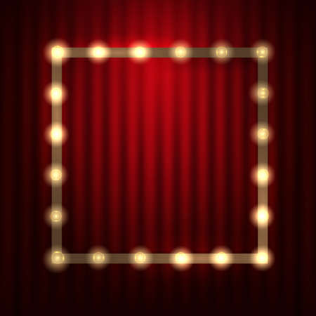 Light Bulb Frame against red theatre or cinema curtain. Glowing Signboard with a blank space for Your Text. Vector Illustration Иллюстрация