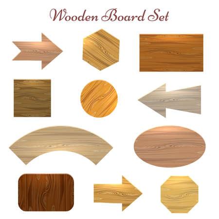 Houten kenteken label set. Elf verschillende vormen en soorten houten uithangborden voor prijs, verkoopstickers, banners enz. Vectorillustratie.