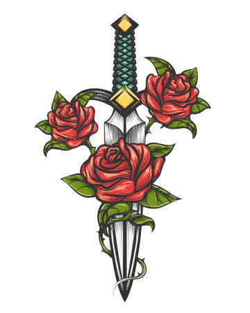 Traditional tattoo with rose flowers and dagger knife. Vector illustration isolated. Colorful Tattoo in engraving style for your use.  Ilustrace