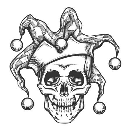 Hand drawn jester skull in fools cap. Vector illustration in engraving tattoo style.
