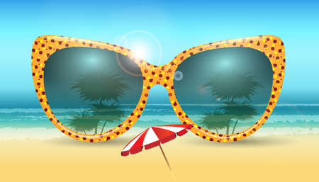 water reflection: Summer background with sunglasses. Vacation Summer vector illustration. Illustration