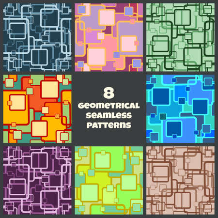 Set of eight abstract seamless geometrical patterns. All patterns saved as swatches. Illustration