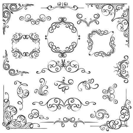 Set of hand drawn Ornate swirl decor elements. Frames headers and scrolls isolated on white. Vector illustration.