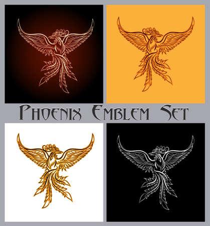 Set di emblema di uccelli fenice. Elementi di design per stampe, badge, etichette e adesivi. Illustrazione vettoriale. Archivio Fotografico - 80304166
